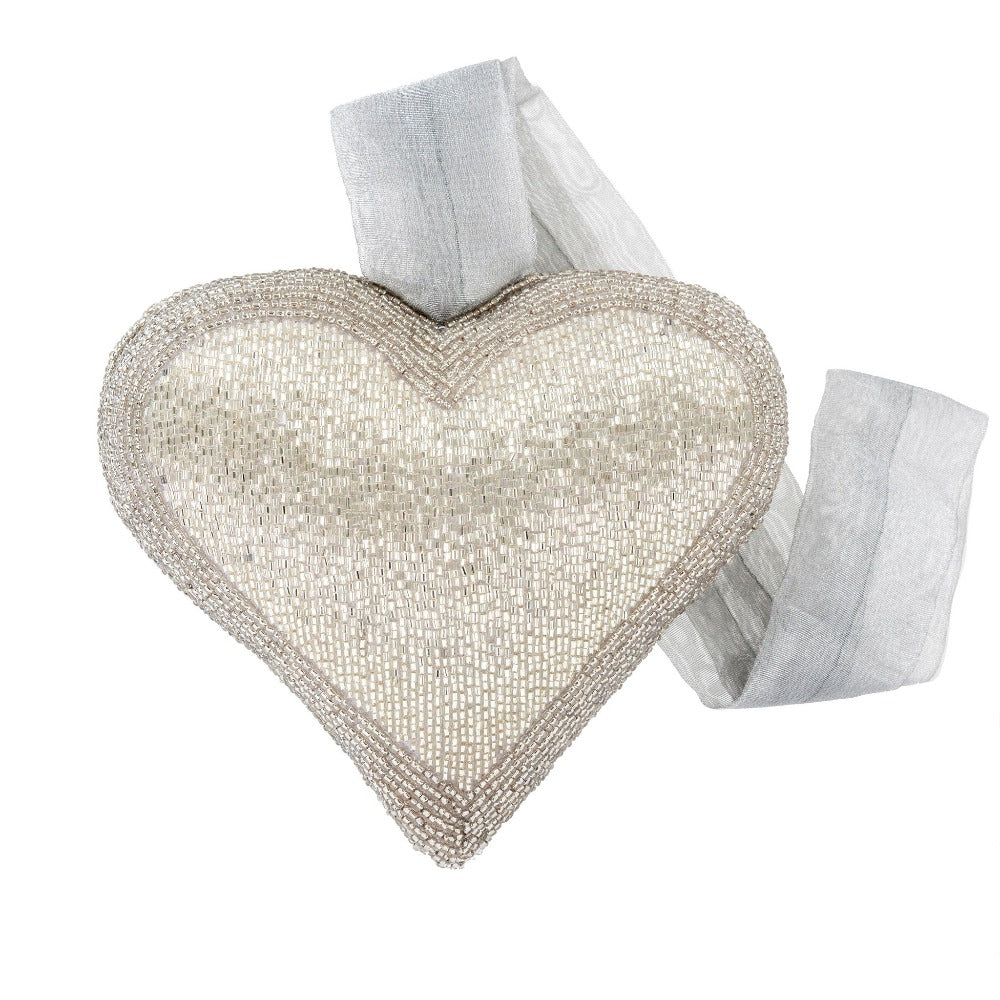 Silver Beaded Heart Ornament - Large