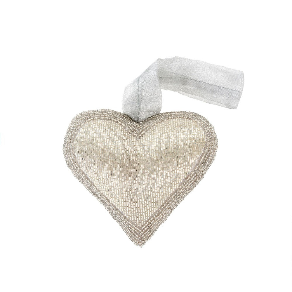 Silver Beaded Heart Ornament - Medium