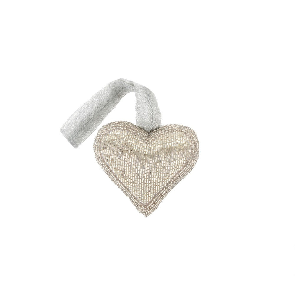 Silver Beaded Heart Ornament - Small | Putti Fine Furnishings