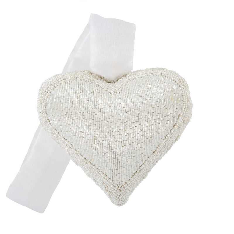 White Beaded Heart Ornament - Large