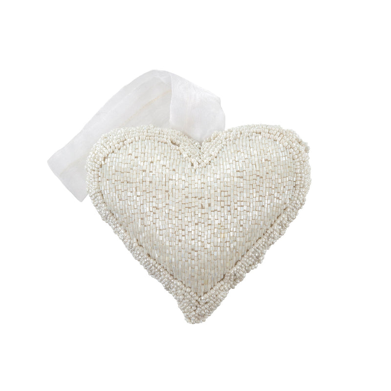White Beaded Heart Ornament - Medium