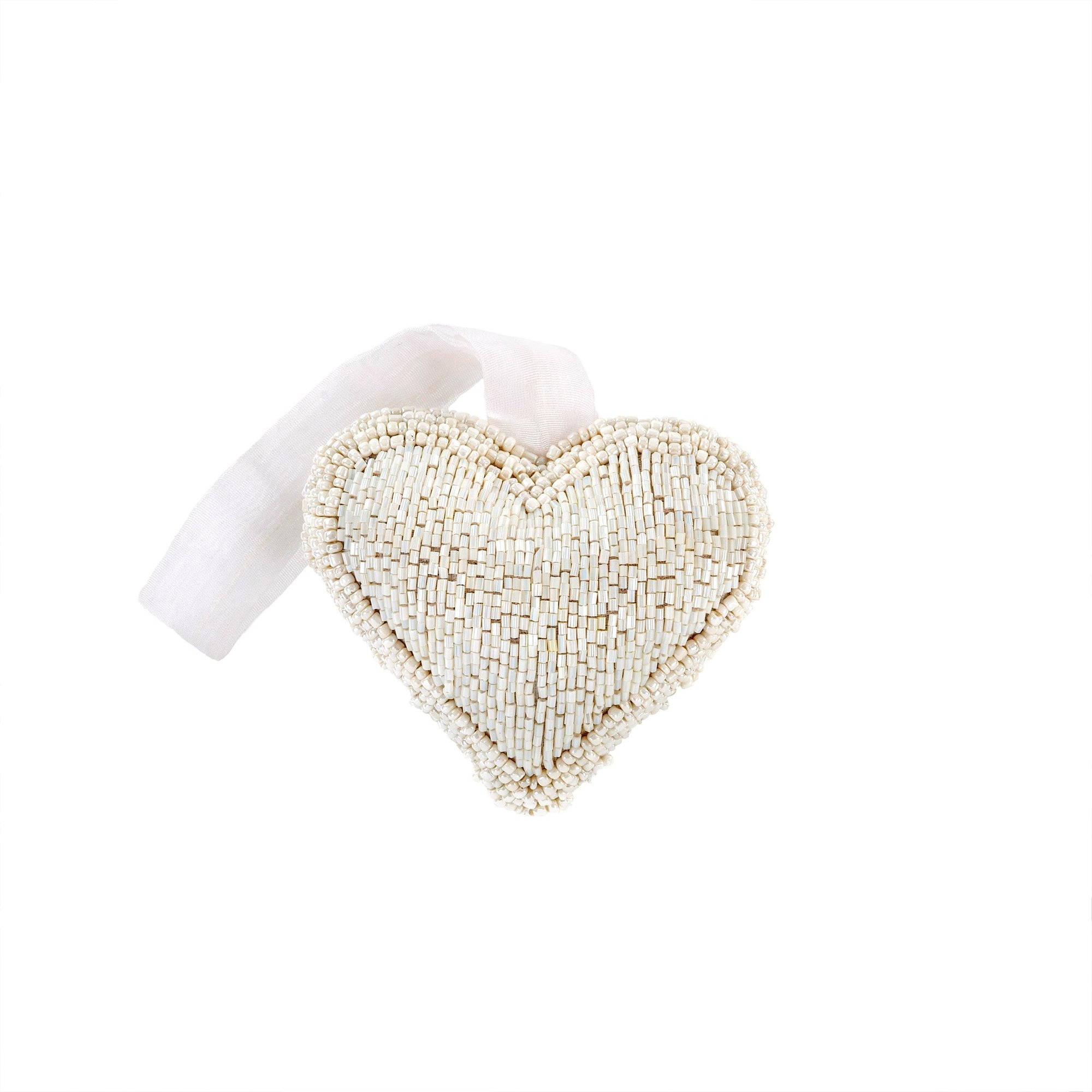 White Beaded Heart Ornament - Small
