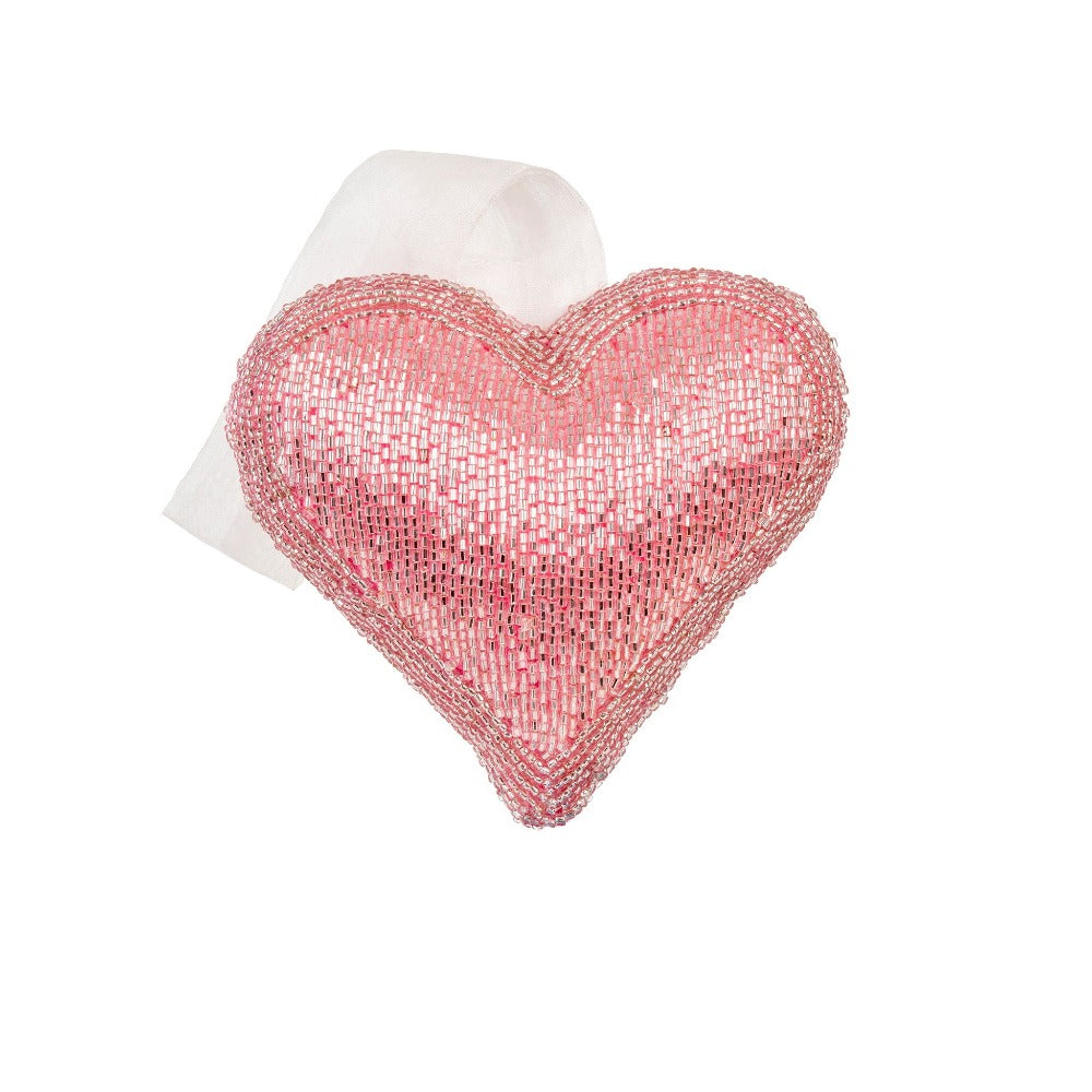Pink Beaded Heart Ornament - Medium