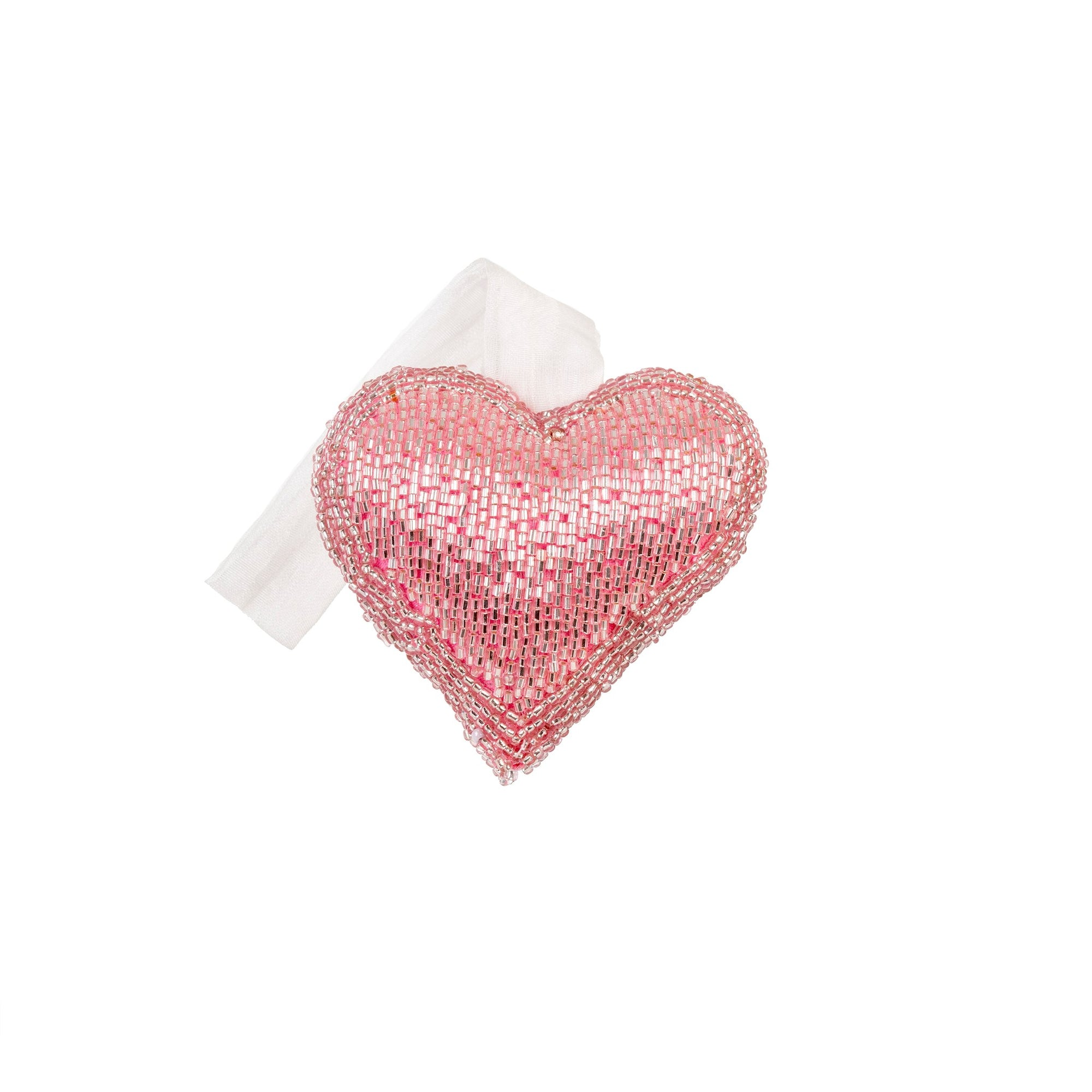 Pink Beaded Heart Ornament - Small
