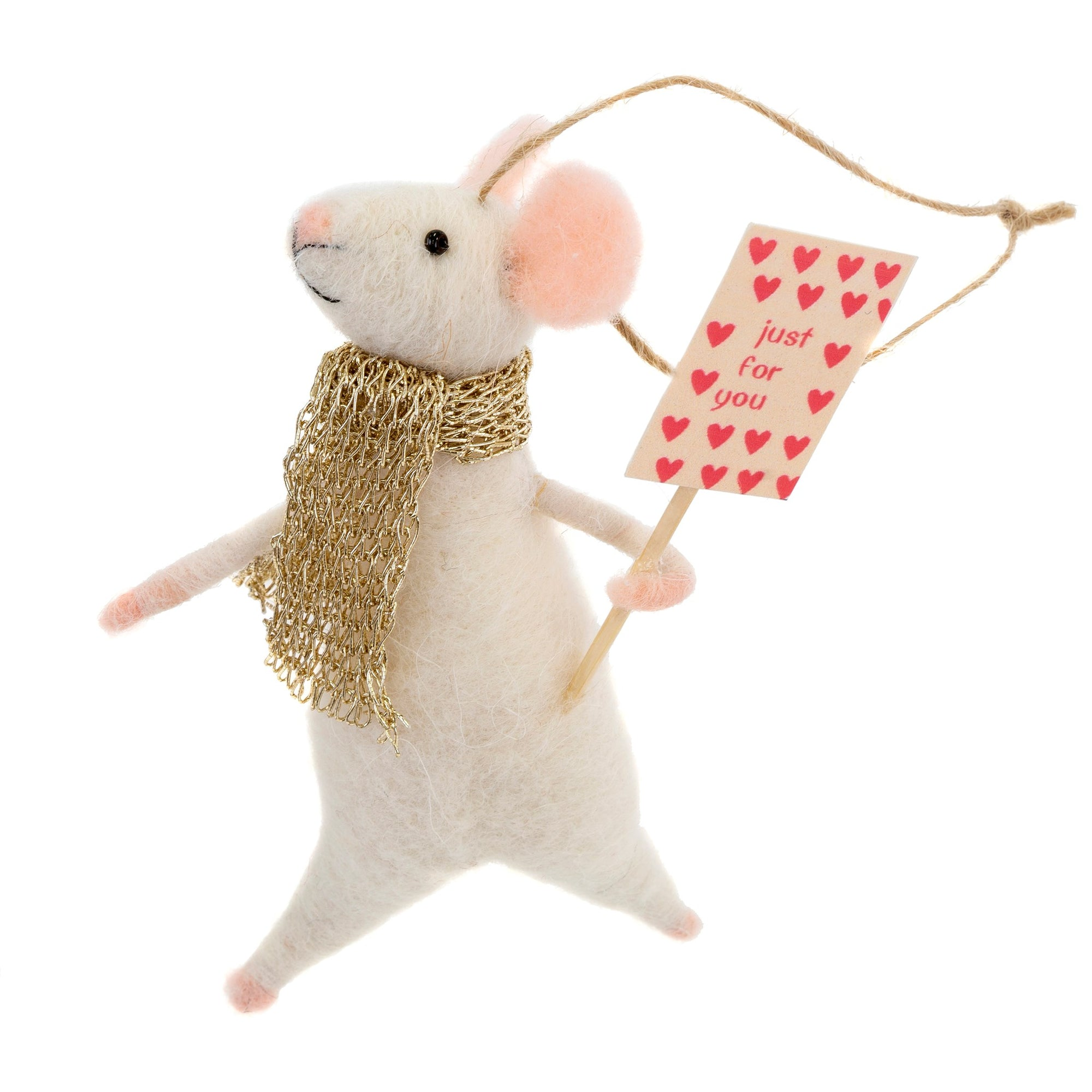 """Just for You Jackson"" Felt Mouse Ornament"