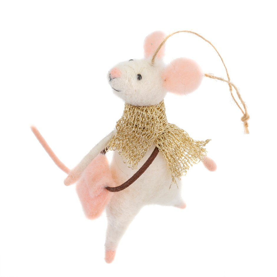 """Messenger Miles"" Felt Mouse Ornament 