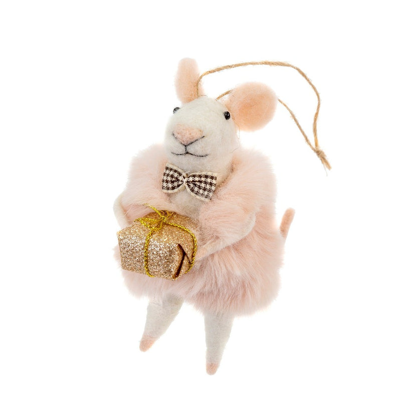 """Dapper Domenic"" Felted Mouse Ornament"