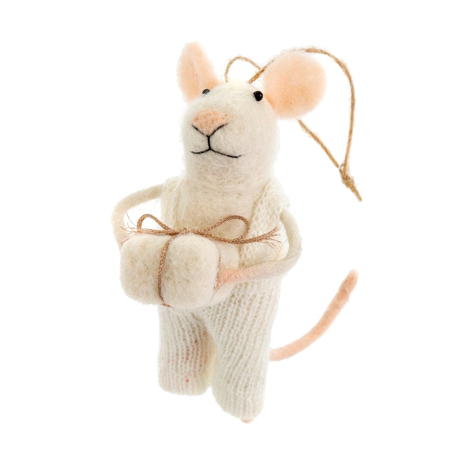 """Gifting Graham"" Felted Mouse Ornament"