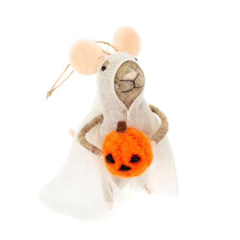 """Hallow-Boo"" Felted Mouse Ornament 