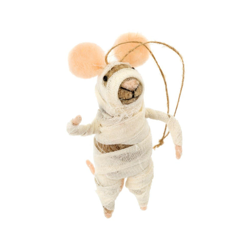 """Mummy"" Felted Mouse Ornament 