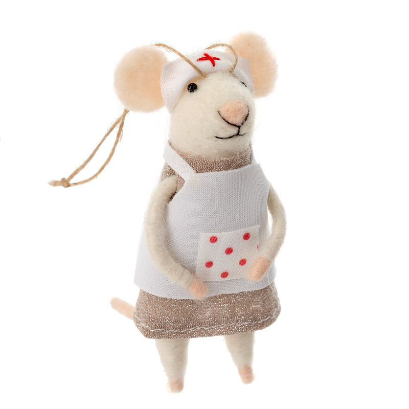 """Nurse Nancy"" Caregiver Felted Mouse Ornament 