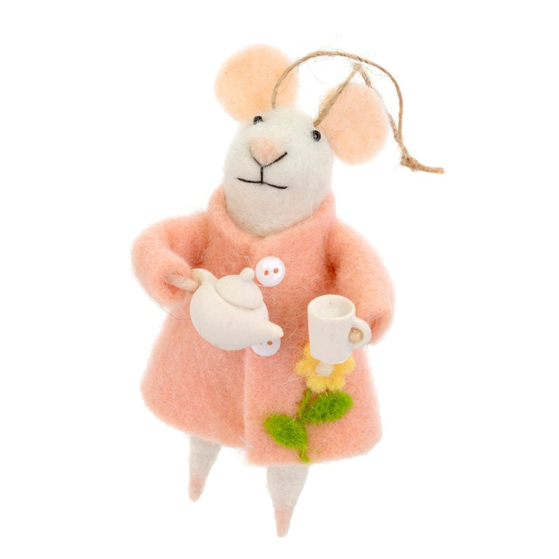 """Tea Time Tabitha"" Tea Set Felted Mouse Ornament 