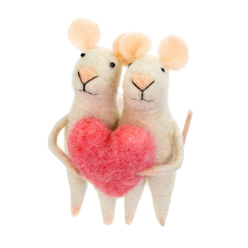 """Love You"" Pair of Felted Mice Ornament"