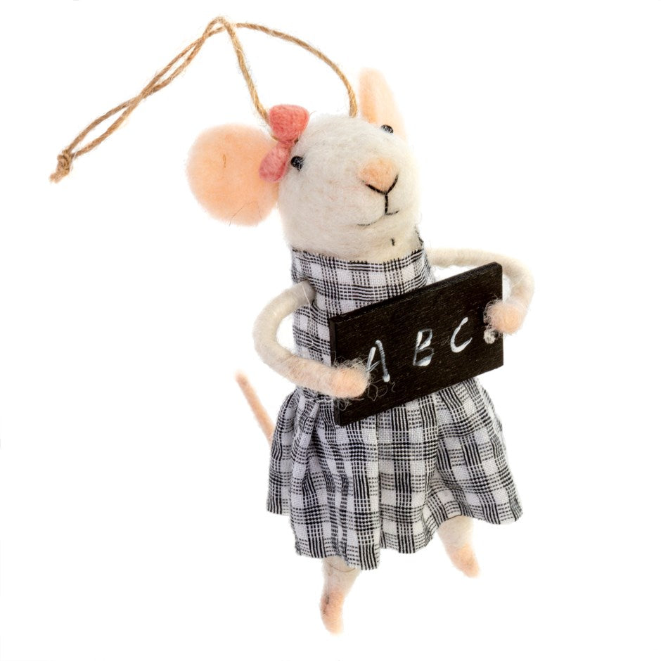"""School Girl Stella"" Chalkboard Felted Mouse Ornament 