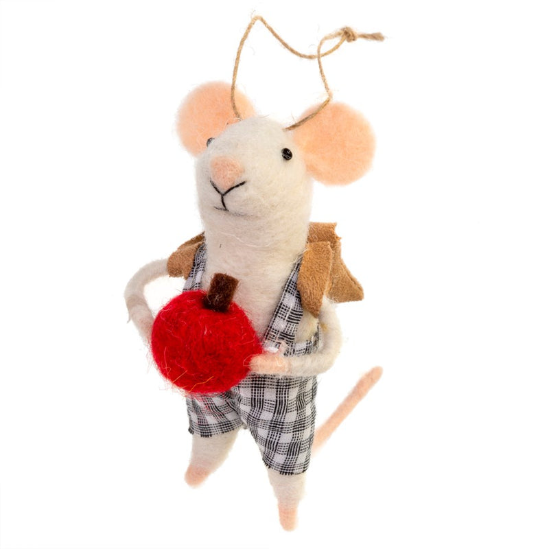 """School Boy Sam"" Red Apple Felted Mouse Ornament 