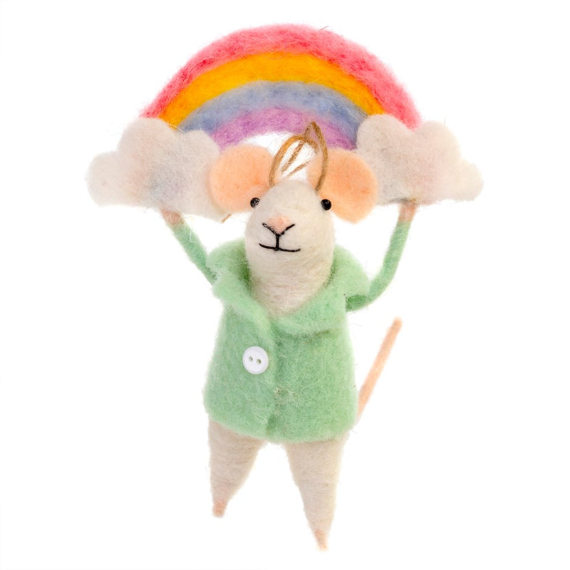"""Over the Rainbow"" Felted Mouse Ornament"