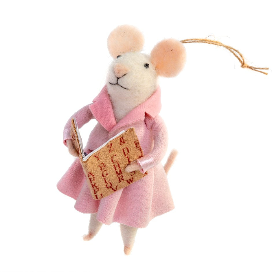 """Tessa"" Teacher Felted Mouse Ornament 