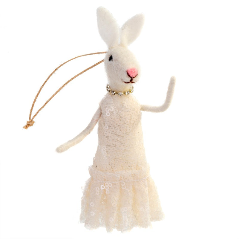 """Madame Bunny"" Rabbit Felted Mouse Ornament 