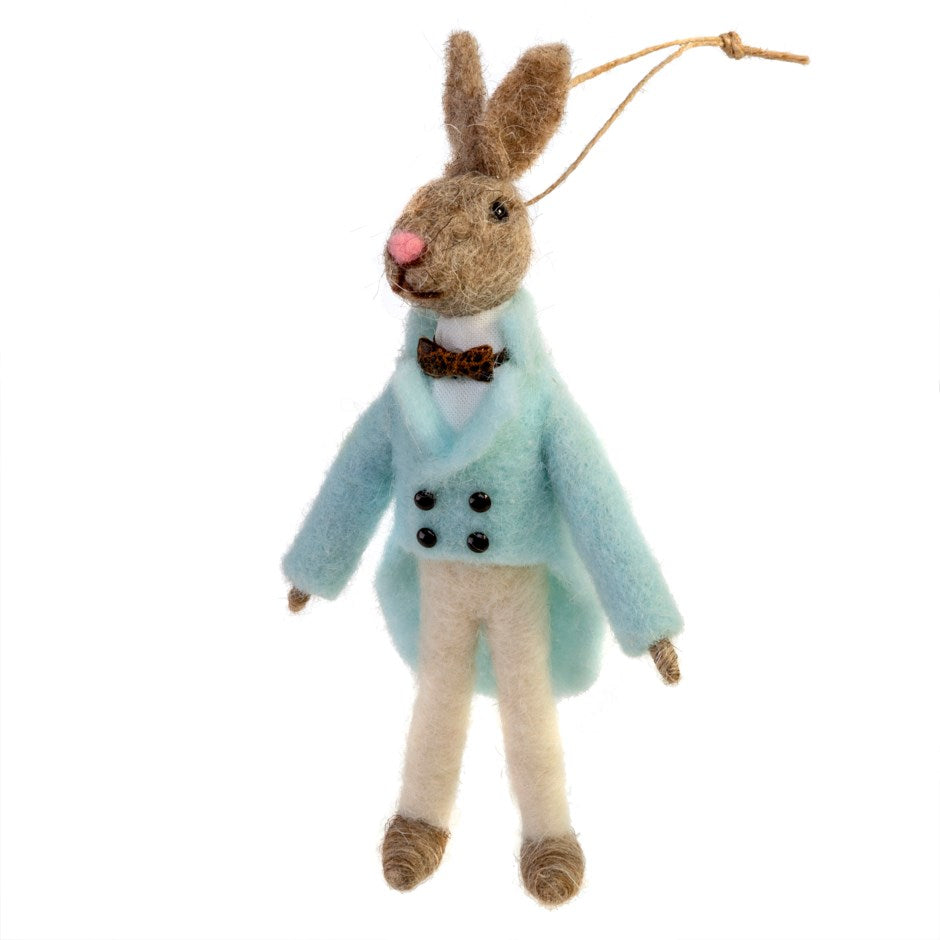 """Monsieur Bunny"" Rabbit Felted Mouse Ornament 