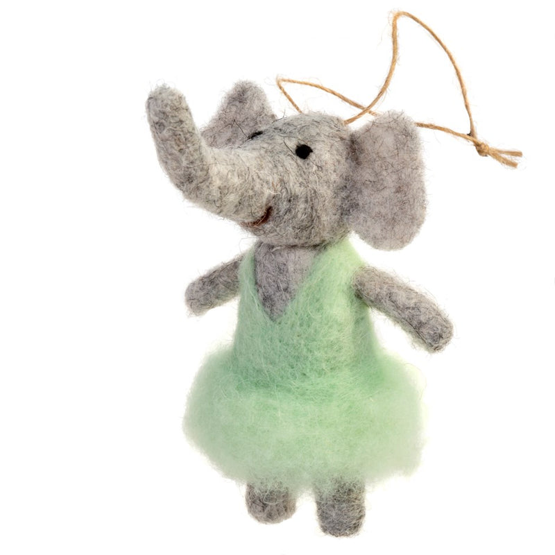 """Ellie"" Elephant Felted Mouse Ornament 