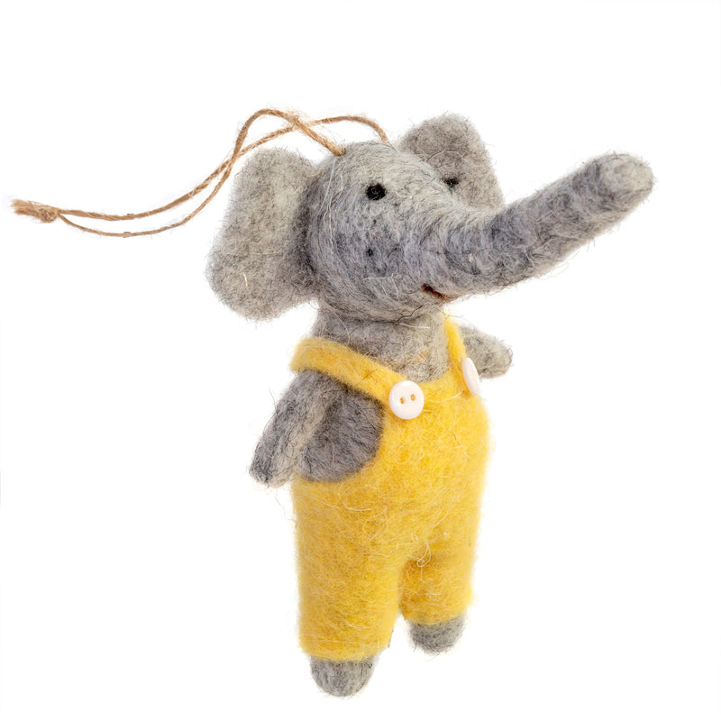 """Edgar"" Elephant Felted Mouse Ornament"