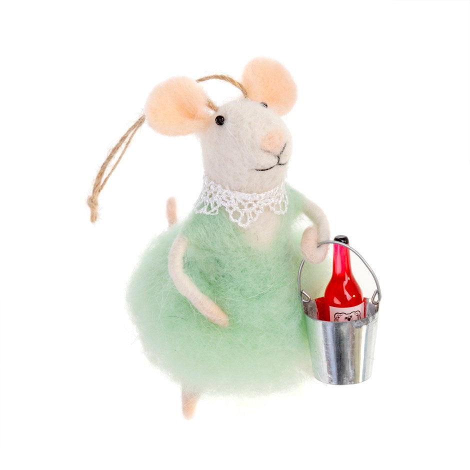 """Wino Wendy"" Wine Bucket Felted Mouse Ornament 