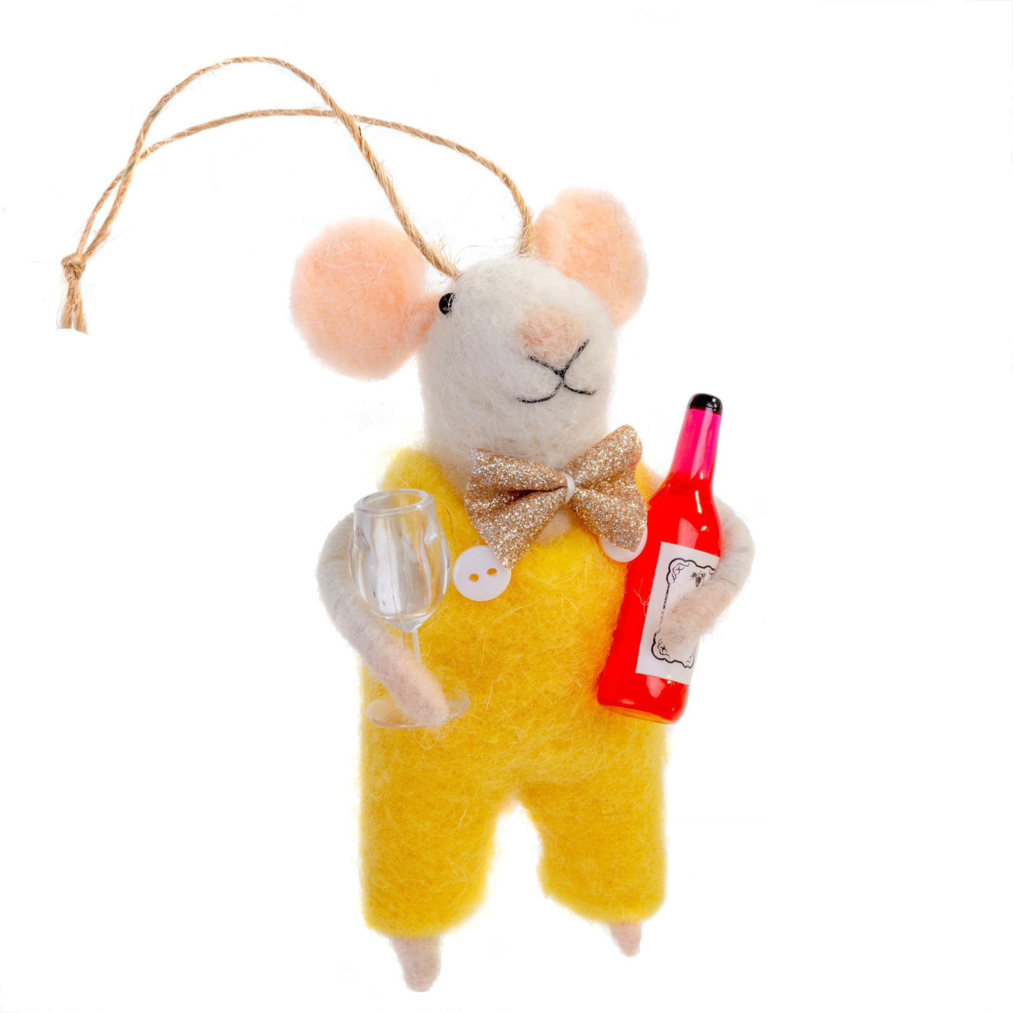 """Wino Winston"" Wine Bottle Felted Mouse Ornament 