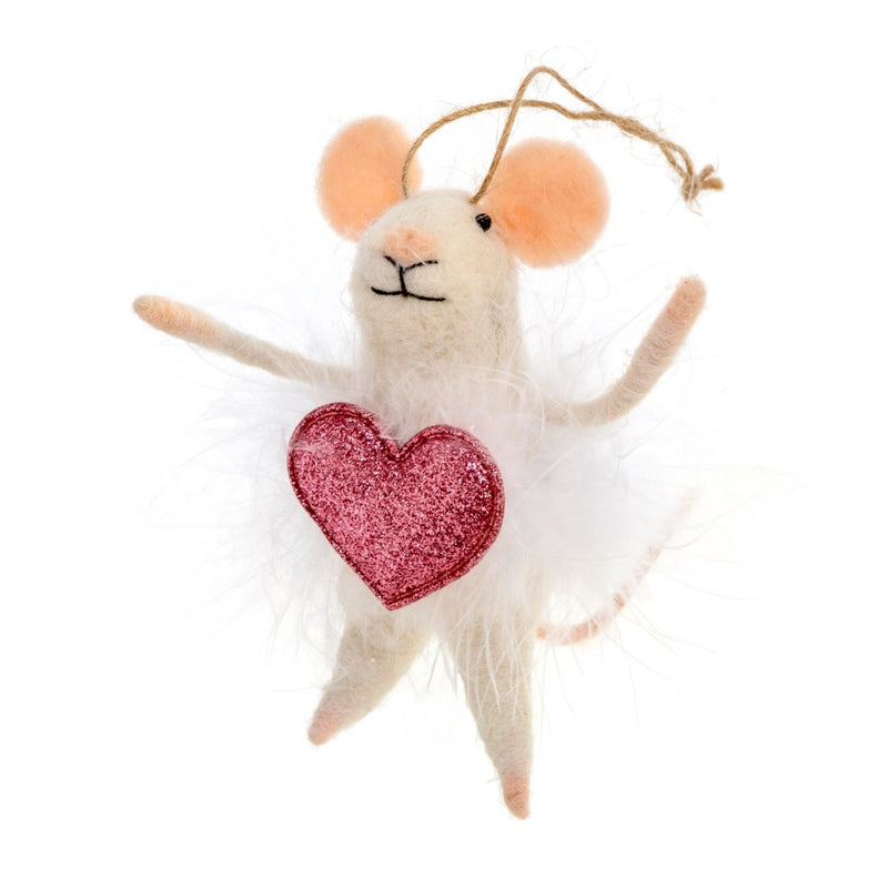 """Valentina"" Felted Mouse Ornament"