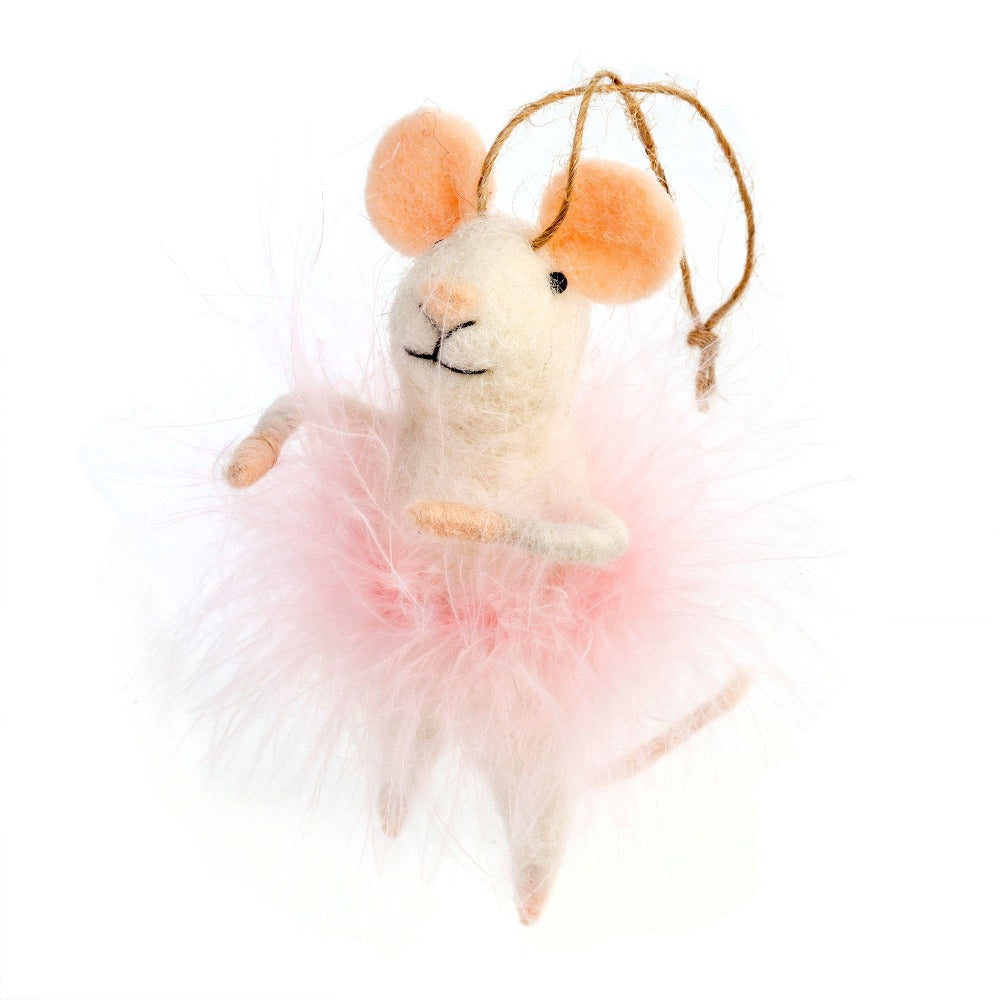 """Cotton Candy"" Pink Feather Felted Mouse Ornament 