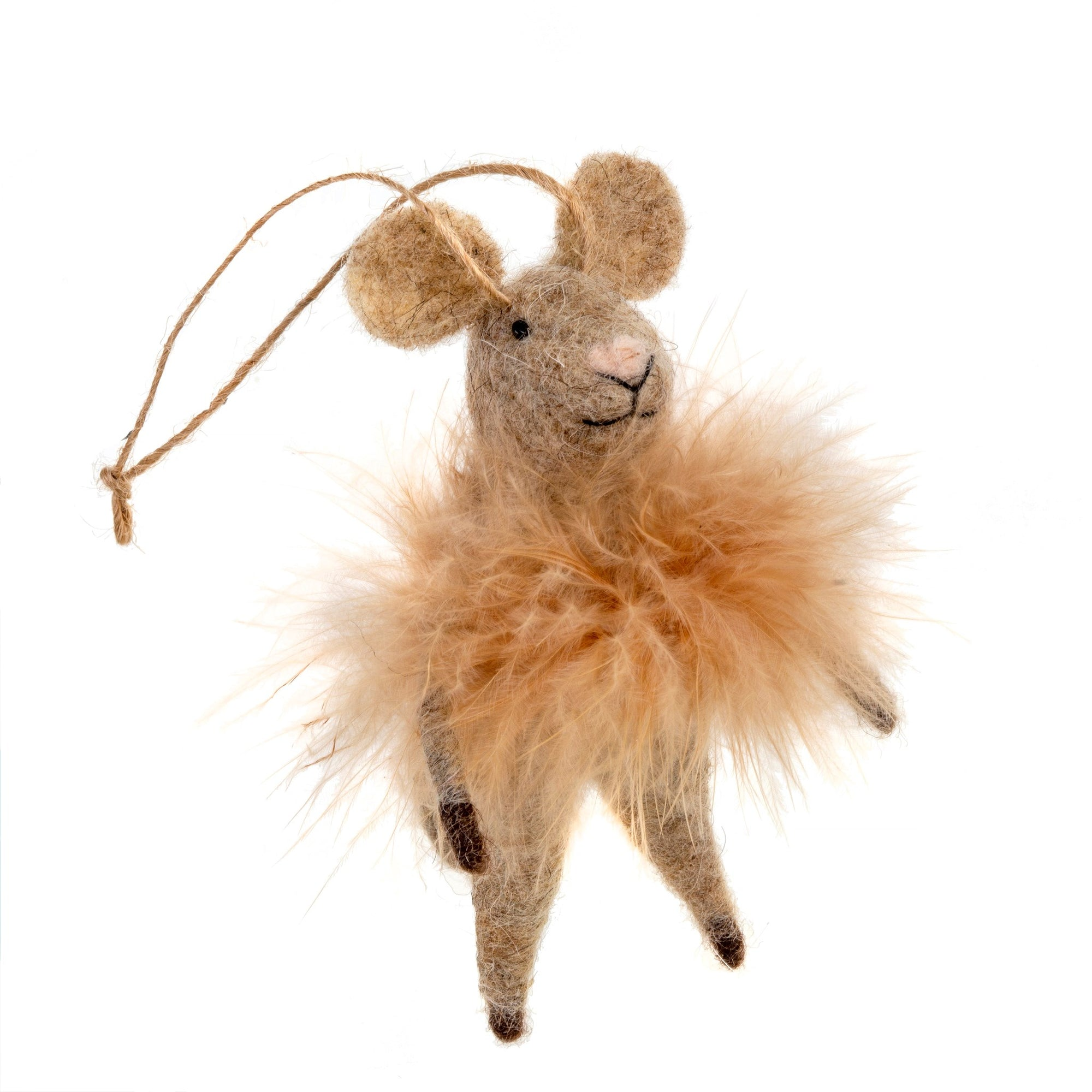 """Fluffy Farah"" Felted Mouse Ornament"