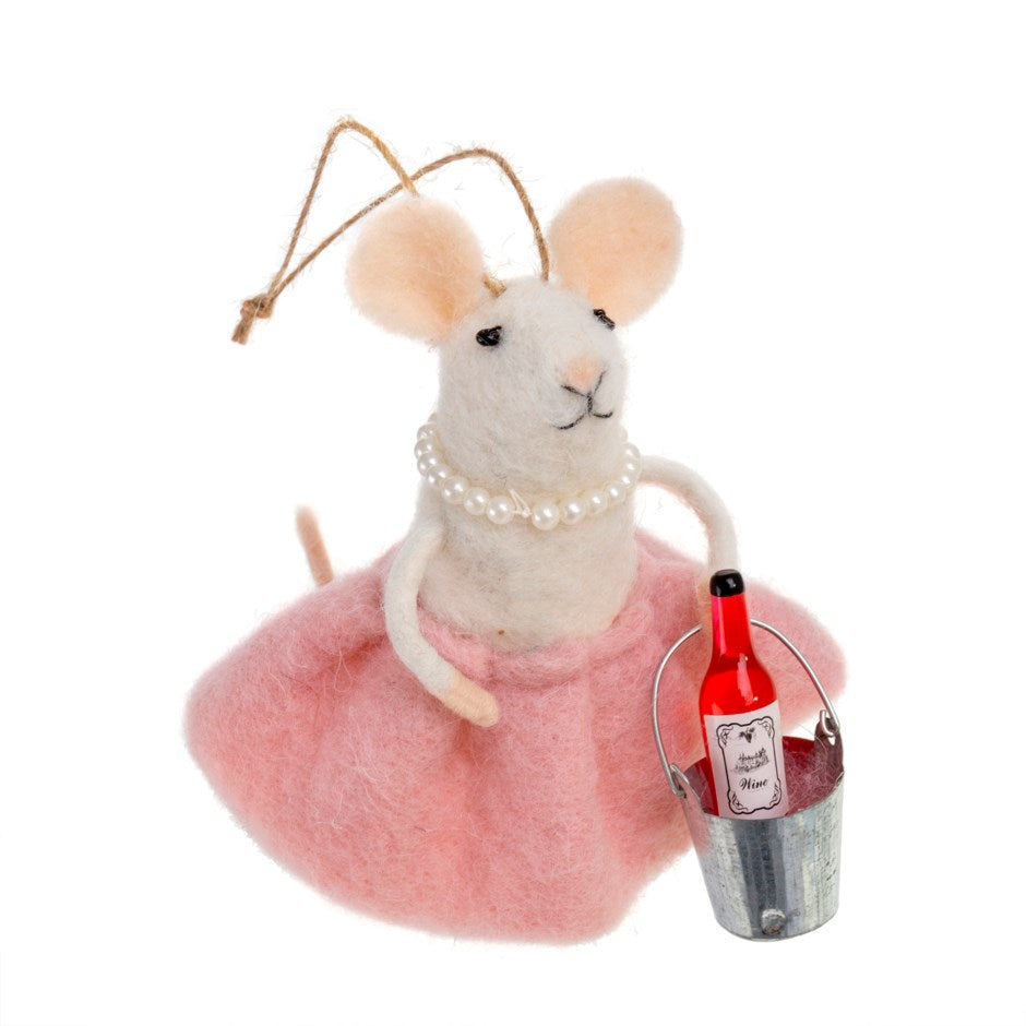 """Rose all Day"" Wine Bucket Felted Mouse Ornament"