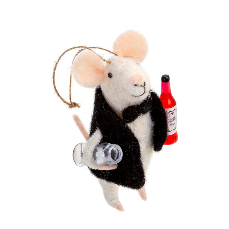 """Sommelier"" Felted Mouse Ornament 