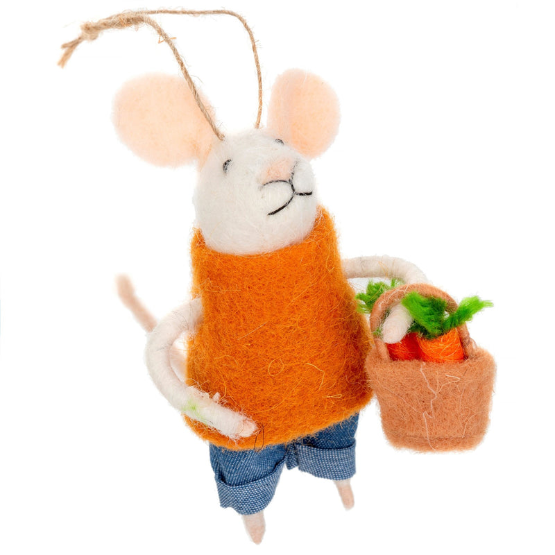 """Farmer's Market Finn"" Felted Mouse Ornament 