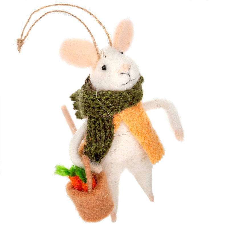 """Farmer's Market Fiona"" Felted Mouse Ornament 