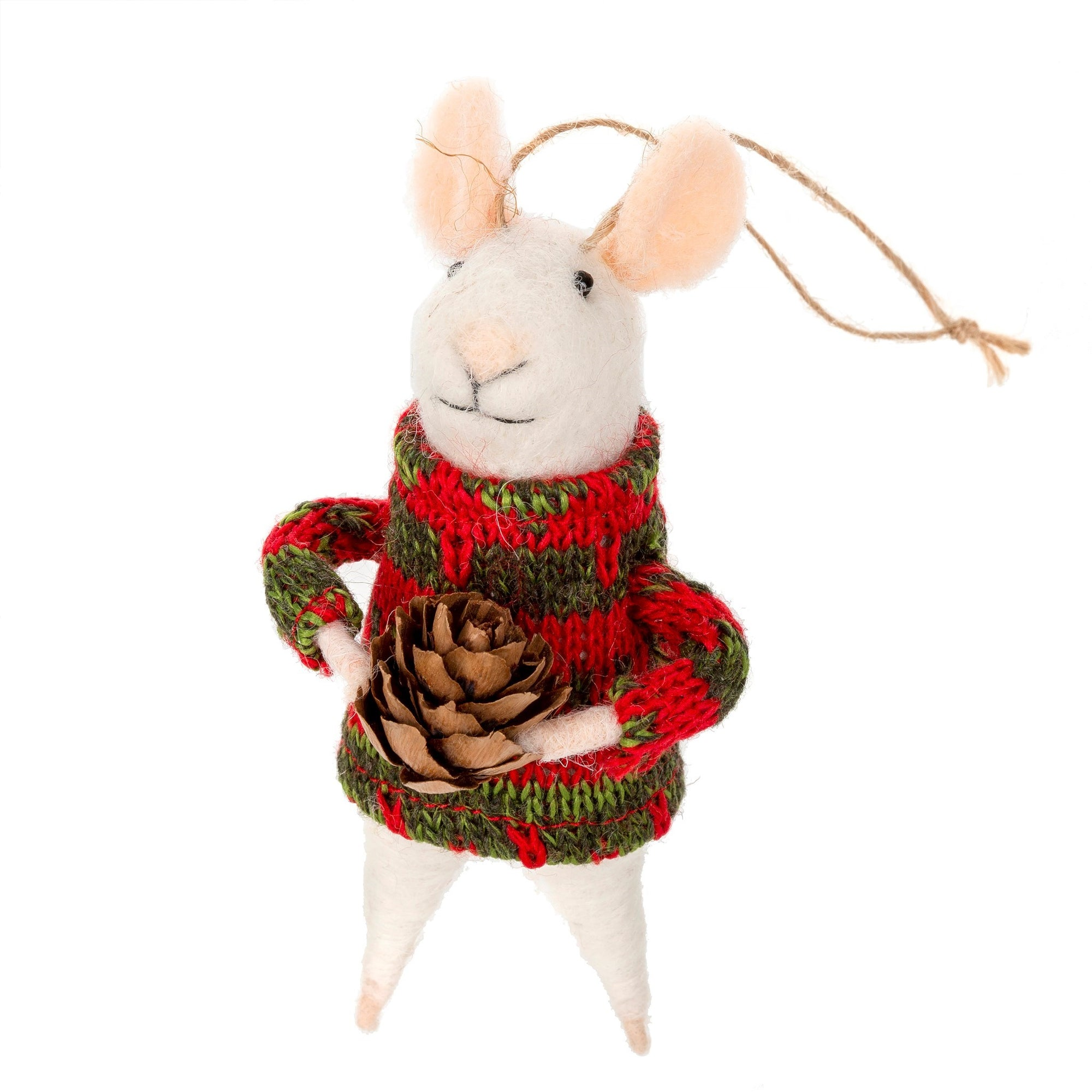 """Sitka Solomon"" Felted Mouse Ornament 