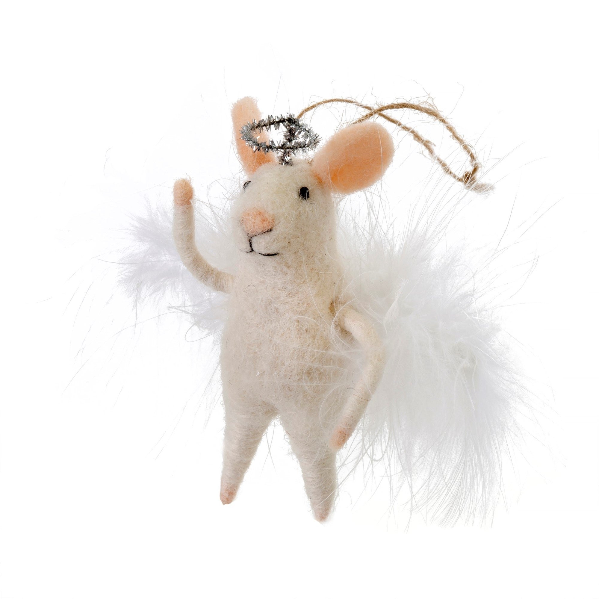 """Angelic Annie"" Felted Mouse Ornament 