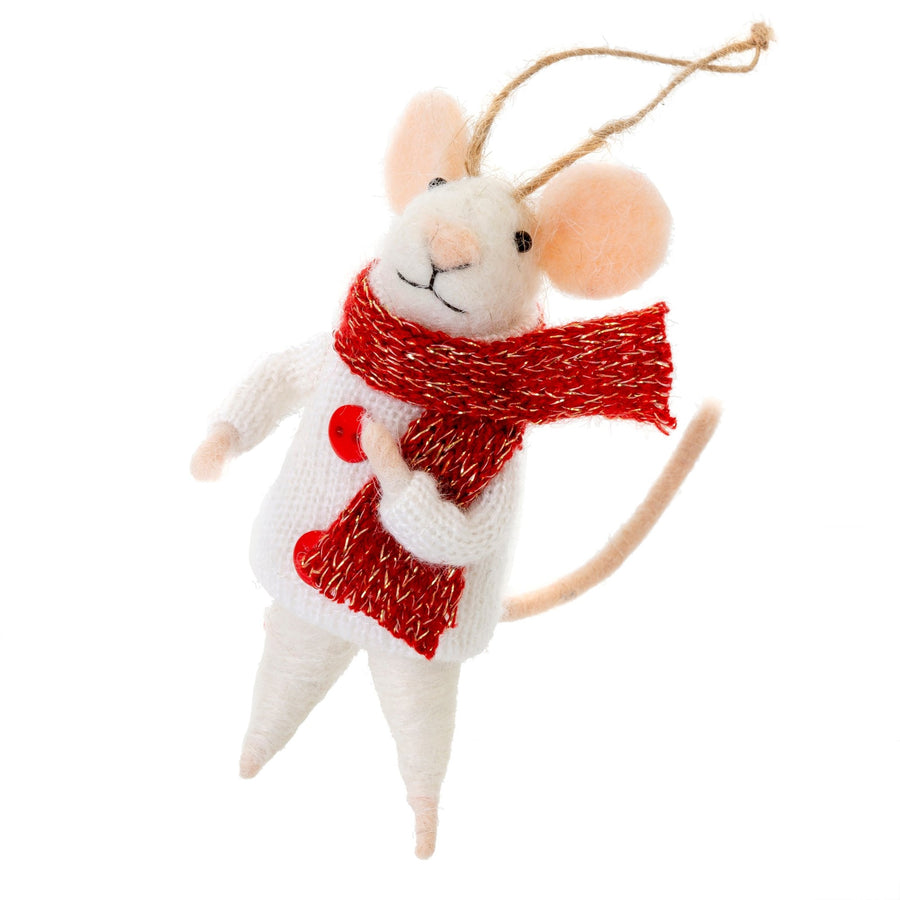 """Outdoor Oscar"" Felted Mouse Ornament 
