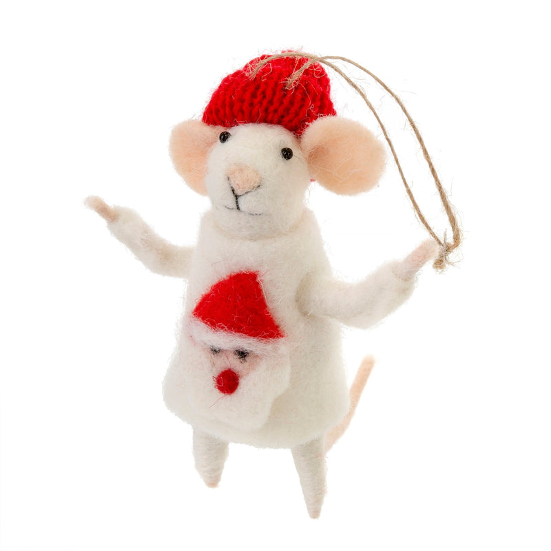 """Ugly Sweater Simon"" Felted Mouse Ornament"