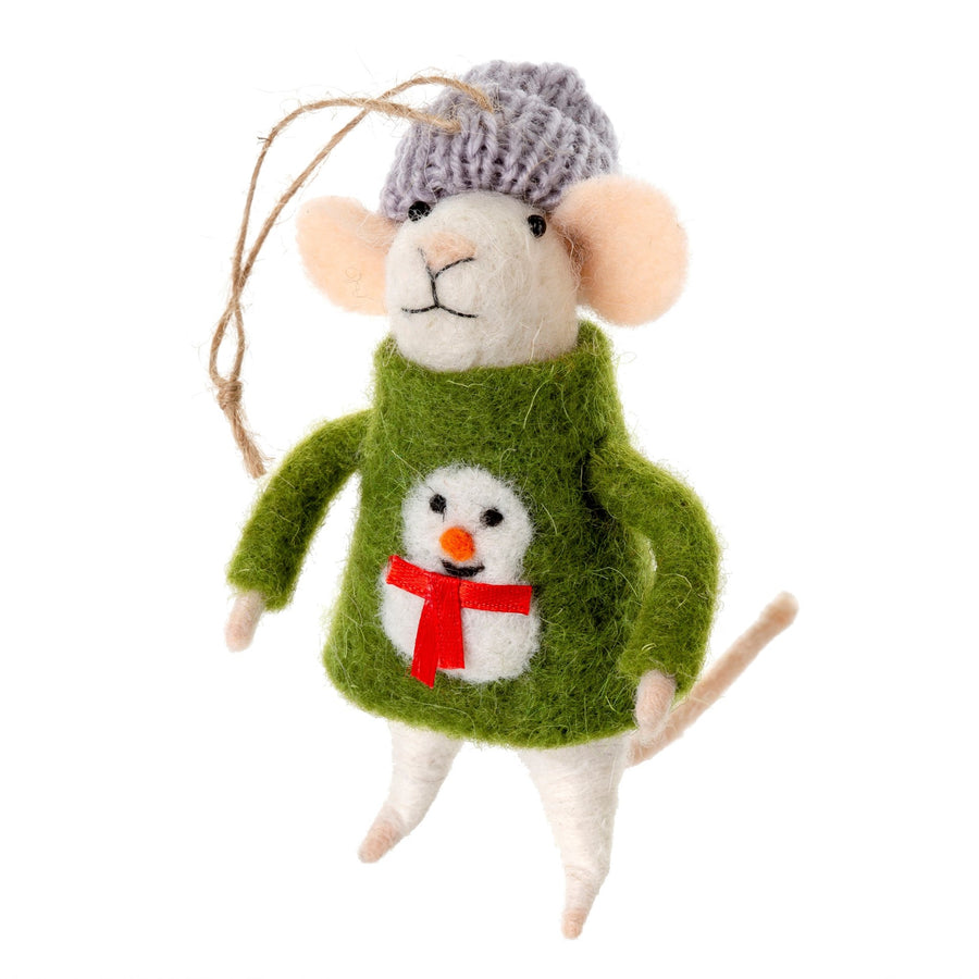 """Ugly Sweater Sid"" Felted Mouse Ornament 