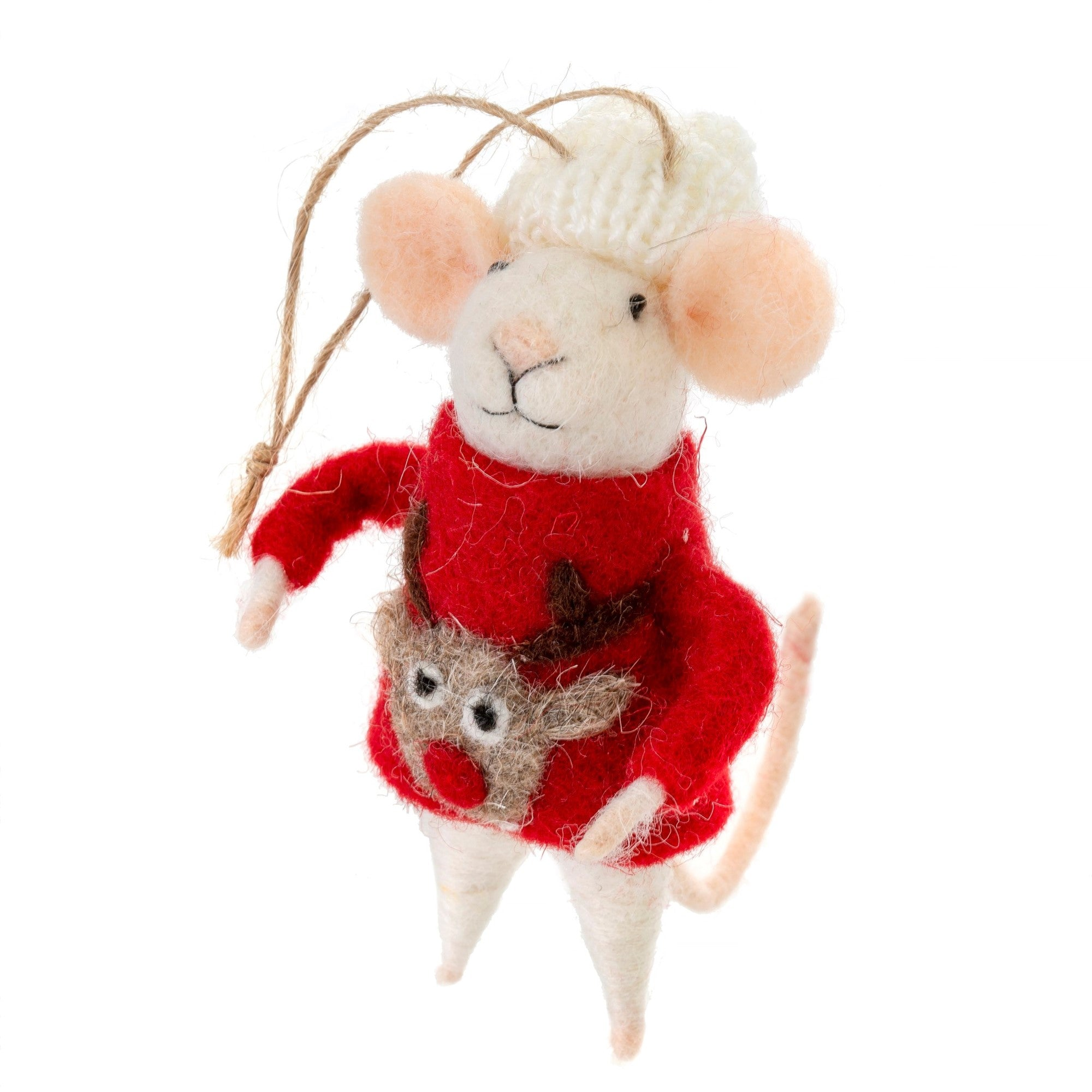 """Ugly Sweater Steve"" Felted Mouse Ornament"