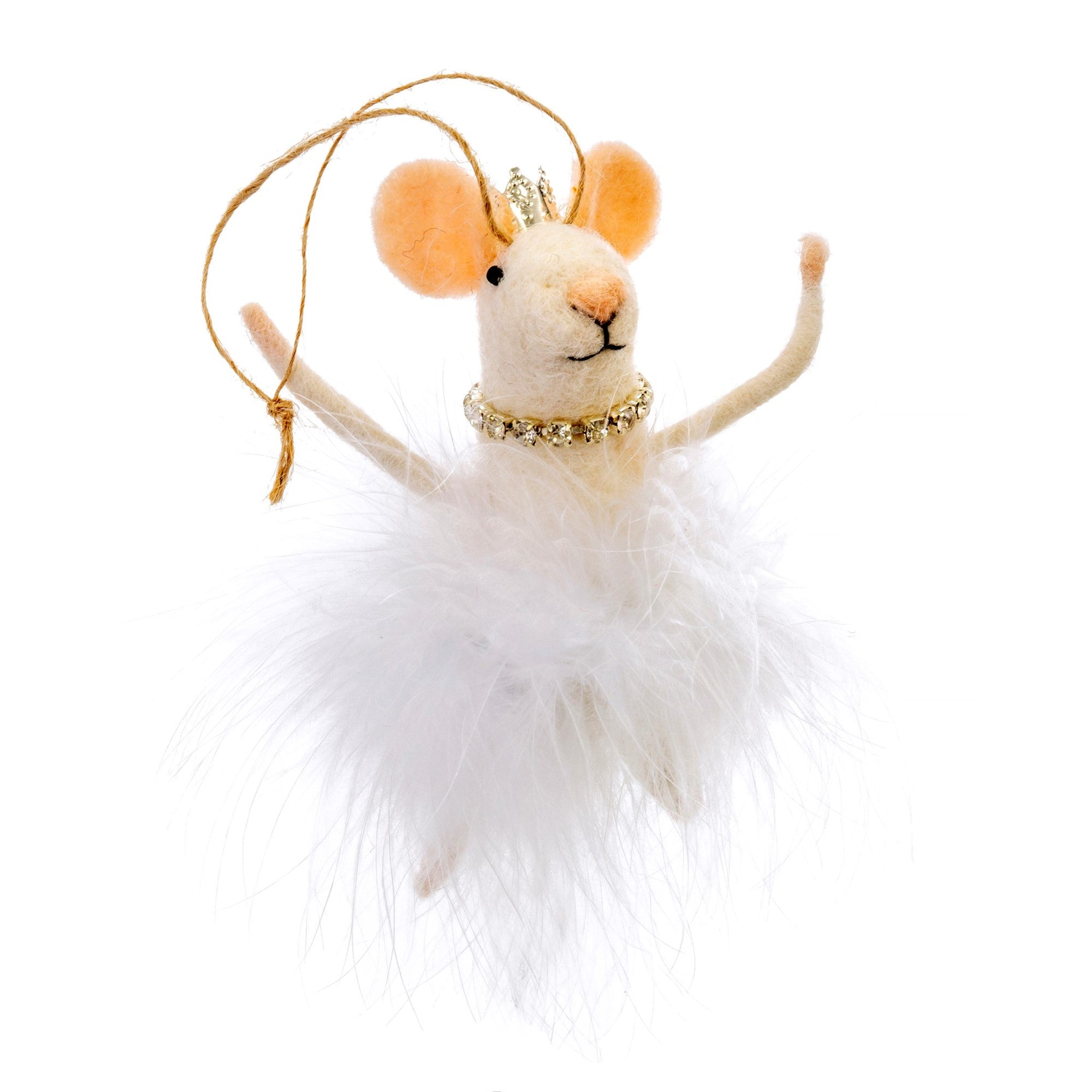 """White Swan Princes"" Felted Mouse Ornament"