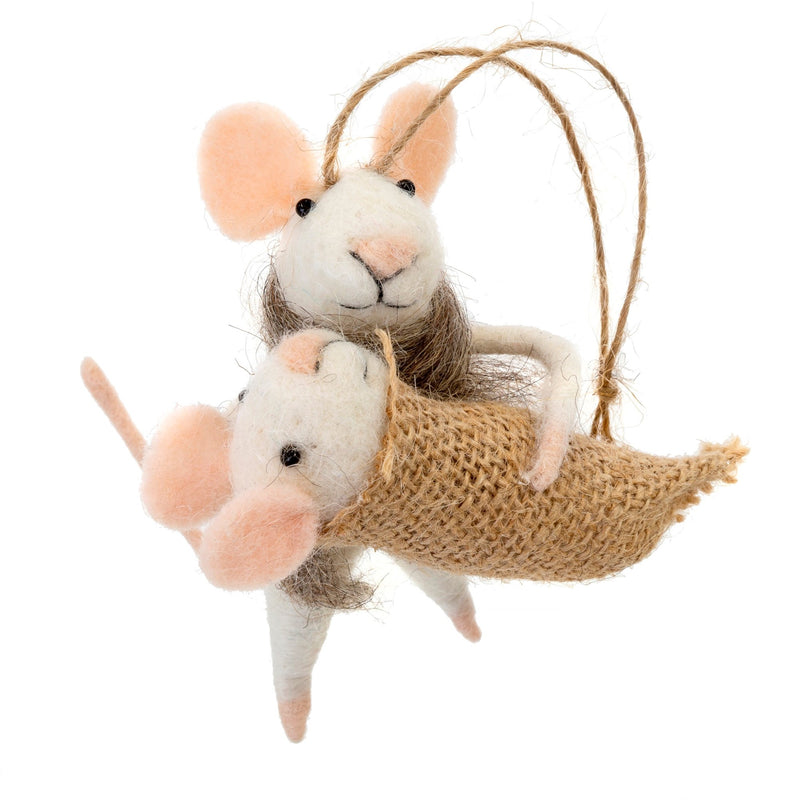 """Mommy and Me"" Felted Mouse Ornament"