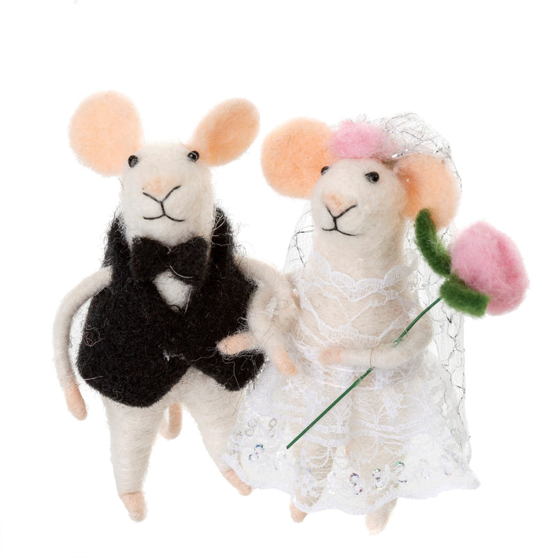 """Newlywed"" Pair of Felted Mouse Ornament 