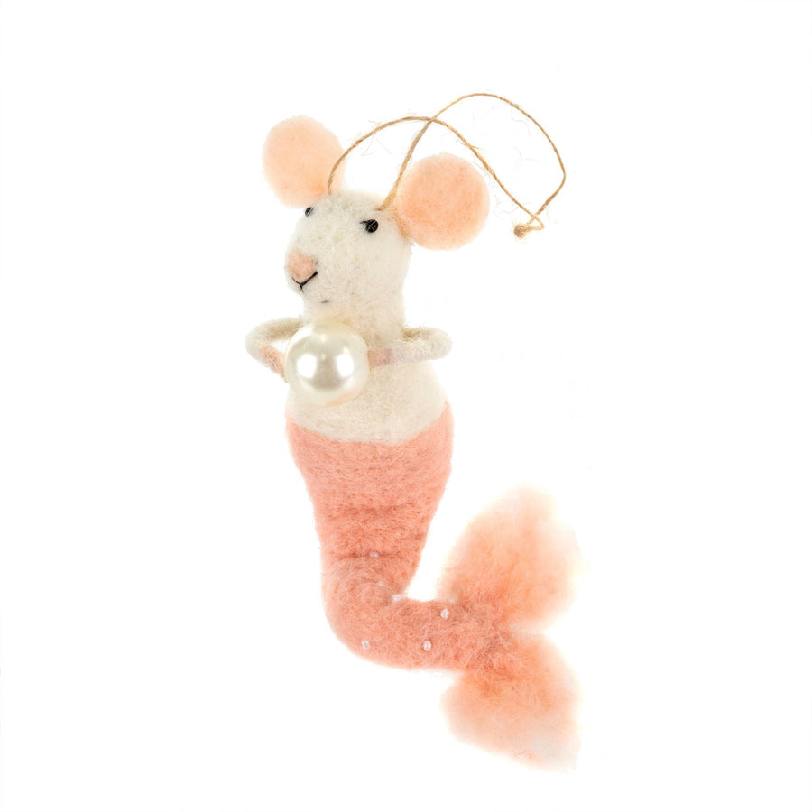 """Mermaid with Pearl"" Felted Mouse Ornament - Pink"