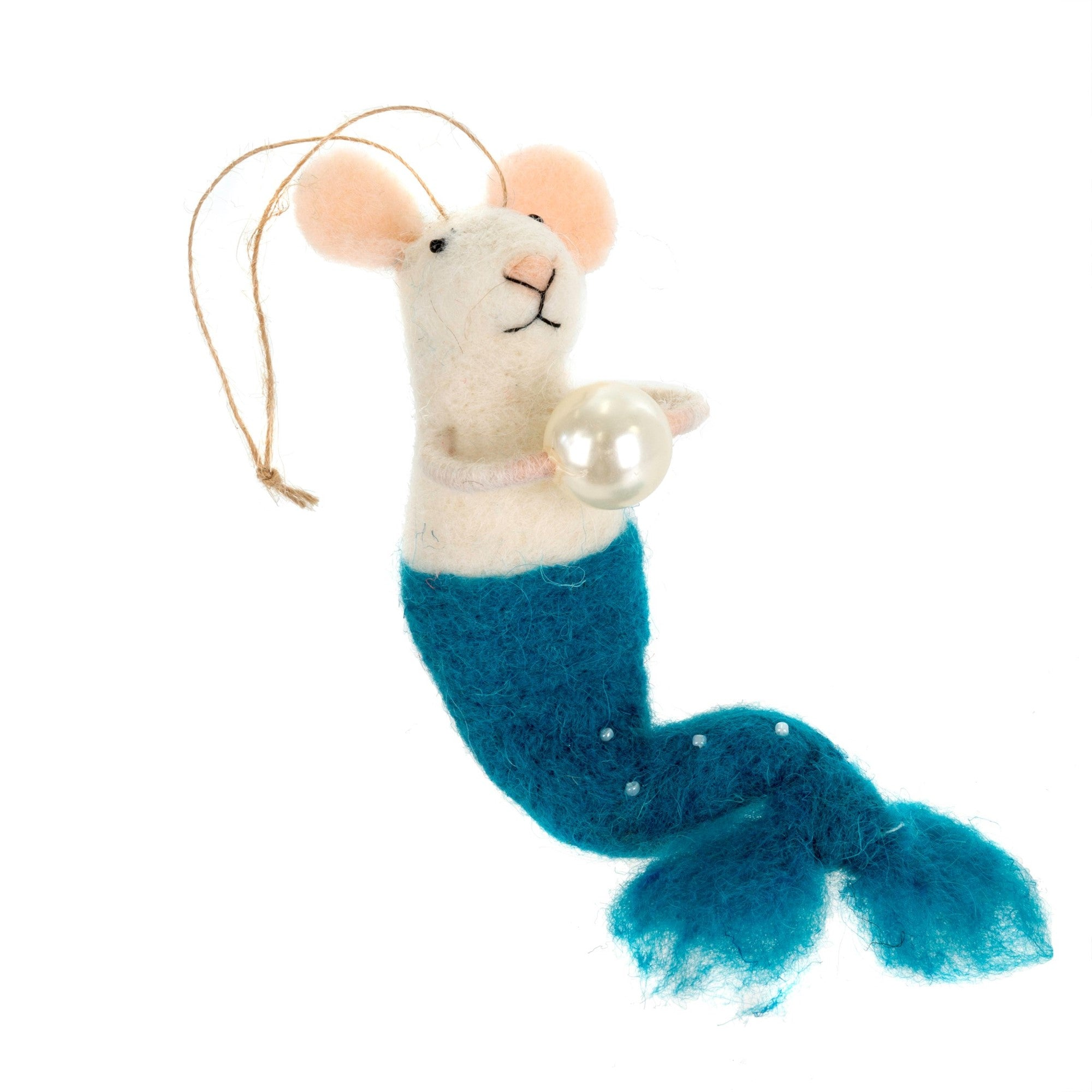 """Mermaid with Pearl"" Felted Mouse Ornament - Aqua"