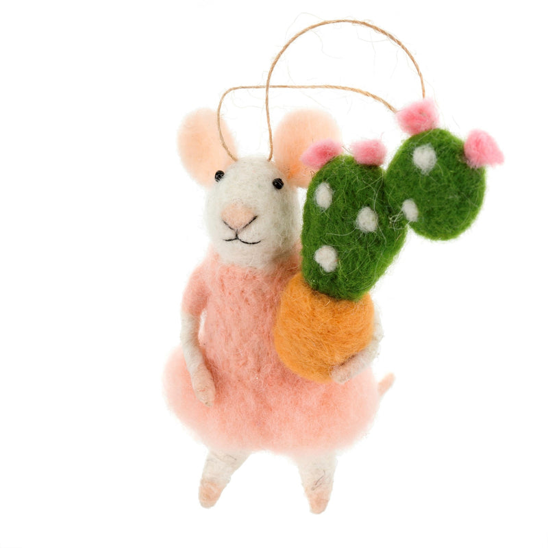 """Succulent Stella"" Felted Mouse Ornament"