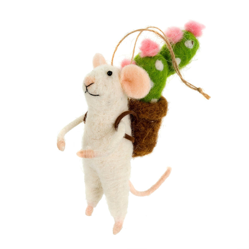"""Backpack Botanist"" Felted Mouse Ornament 