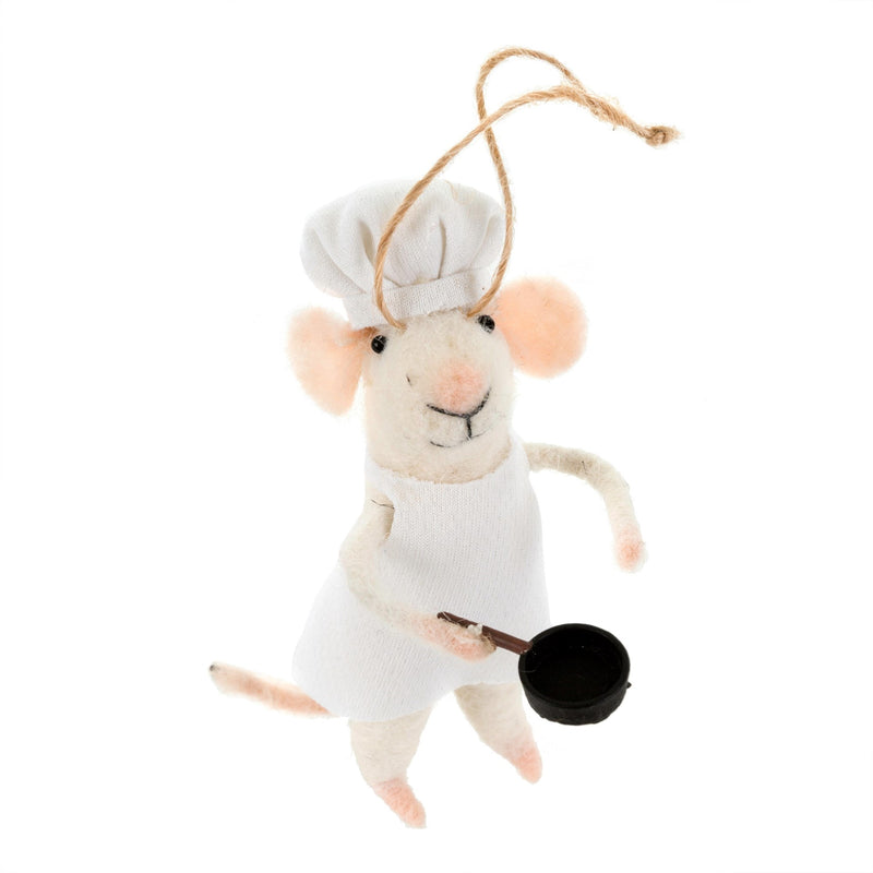 """Sous Chef"" Felted Mouse Ornament"