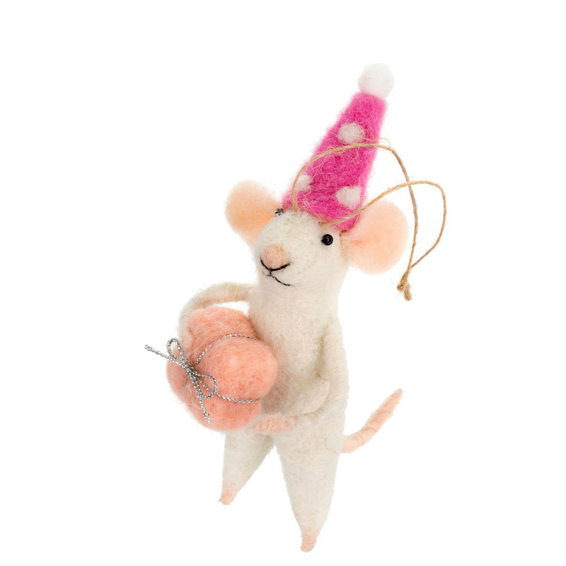 """Party Pamela"" Felted Mouse Ornament"