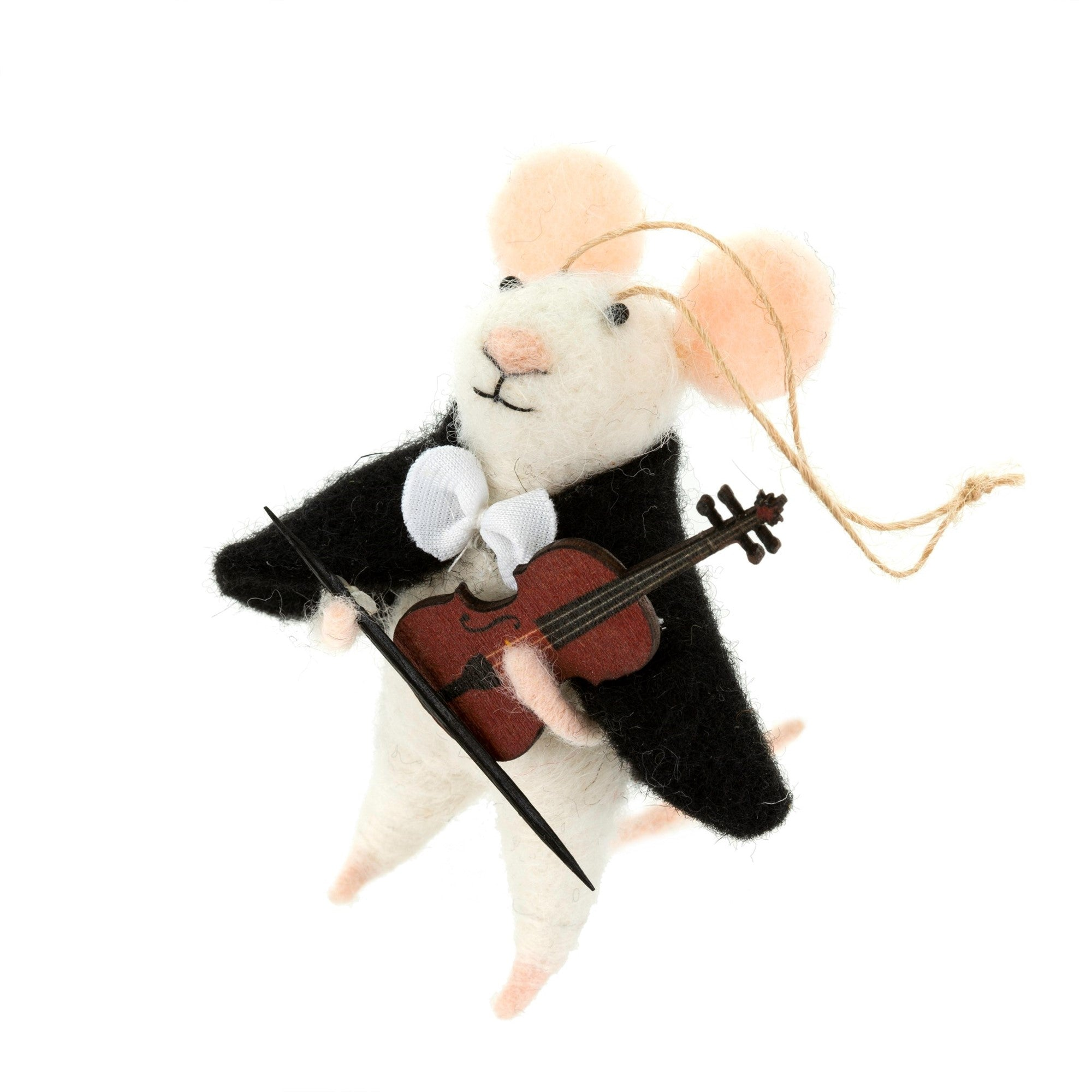 """Violinist Vivian"" Felted Mouse Ornament"